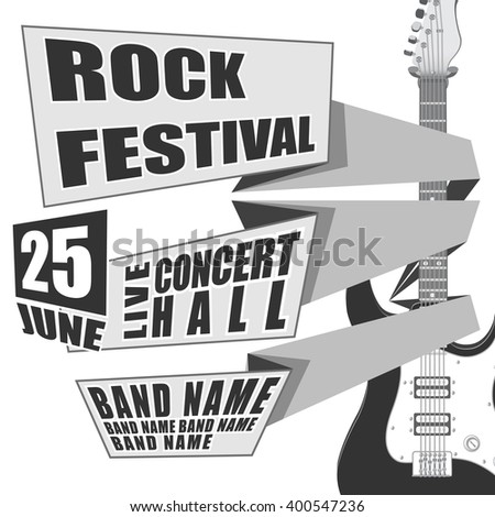Rock festival  event design for flyer, poster, invitation. Vector illustration Electric guitar on back #400547236