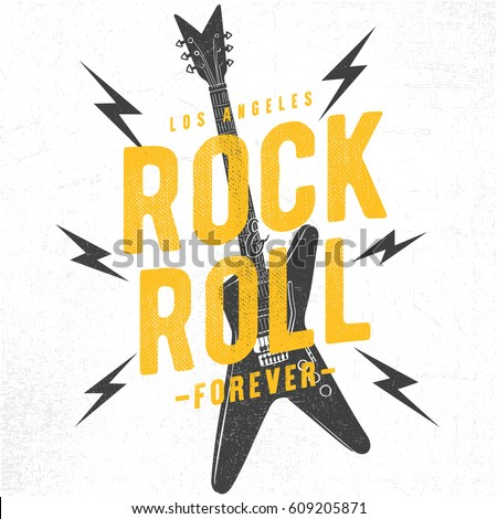 Rock festival poster. Rock and Roll sign. Slogan graphic