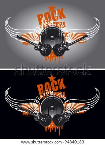 rock festival shield with wings and speaker
