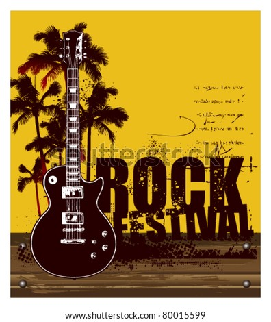 rock festival with summer background and guitar