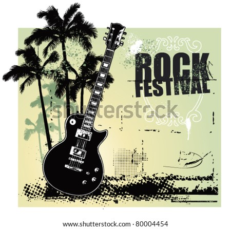 rock festival with summer scene and guitar