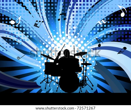 Rock group drummer. Vector illustration for design use.
