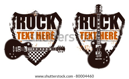 rock grunge shield with guitar