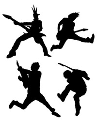 Rock guitar player silhouettes