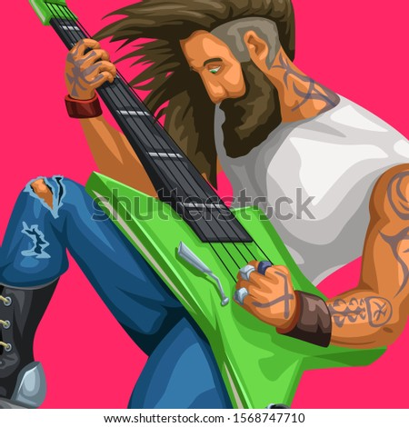 rock guitarist playing on red