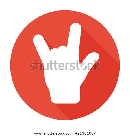 rock hand icon flat rock hand
