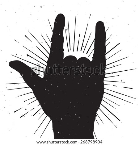 rock hand sign silhouette