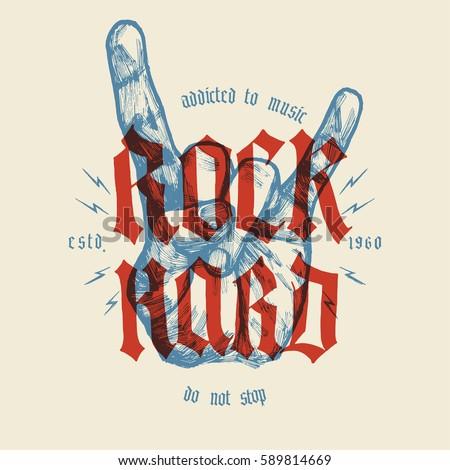 rock hard vintage hand gesture