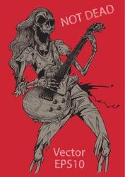 rock human skeleton  musician playing electric guitar Rock concert poster stock vector, illustration