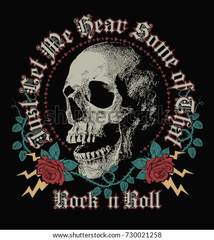 Rock in Roll, skull and roses graphics work.