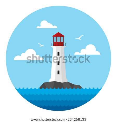 Rock in the sea with lighthouse