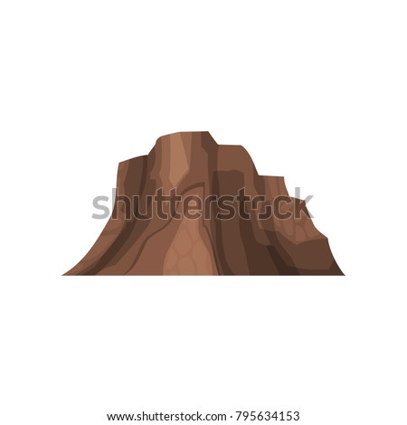Rock mountain, outdoor design element, nature landscape, mountainous geology vector Illustration