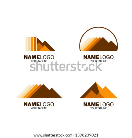 rock mountain set logo. rock hill logo. can be used for mining company logos, oil drilling companies, and others. vector