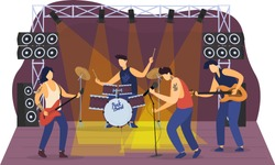 Rock music band give concert, friend group together perform hard melody and dance isolated on white, flat vector illustration. Street concert scene, people together play musical accompaniment.