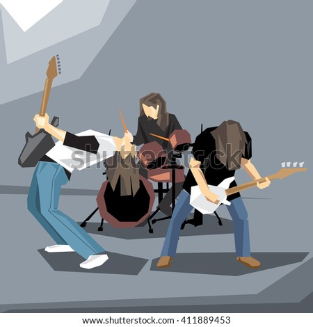 Rock music band performing on stage, with guitars and drums digital vector image