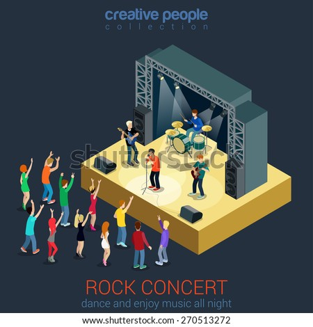 Rock music band pop professional scene concert flat 3d web isometric infographic concept vector. Group creative young people playing instruments impressive performance. Creative people collection.