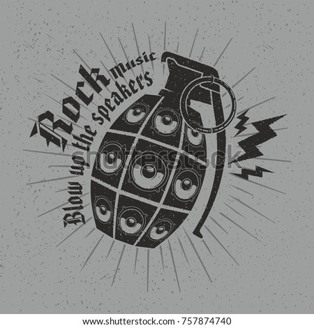 Rock music concept graphic design vector illustration with slogan Blow up the speakers