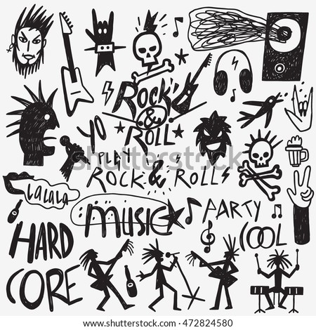rock music doodles