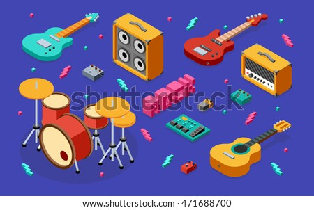rock music equipment 3d