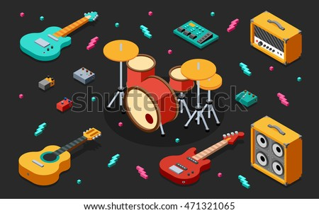 Rock Music Equipment 3D Isometric Illustration on Dark. Low Poly Flat Design.