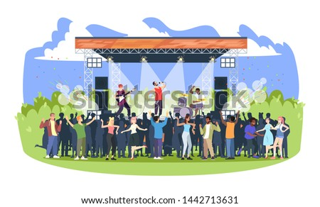 Rock music festival flat vector illustration. Open air live concert in park, camp. Summertime fun outdoor activity. Pop music summer performance. Musicians and spectators cartoon characters