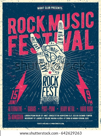 Rock Music Festival Poster, Flyer. Vintage Styled Vector Illustration.
