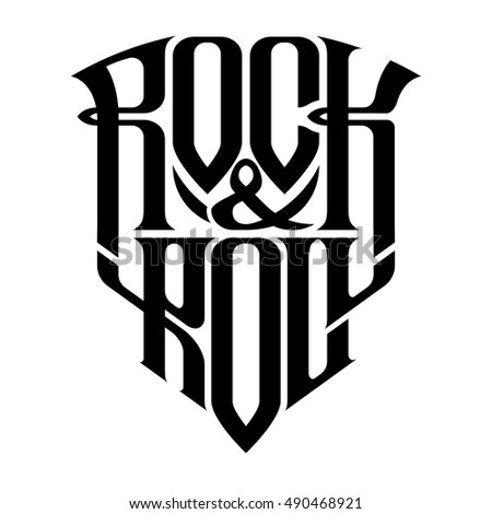 Rock music print, hipster vintage label, graphic design with grunge effect, tee print stamp. t-shirt lettering artwork, Vector illustration in flat, cartoon style isolated from the background, EPS 10 Stock photo ©