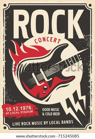 Rock music retro poster design with electric guitar and fire flames on old paper texture. Vintage illustration template for hard rock music festival.