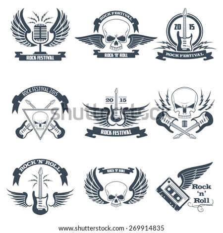 rock music ribbon emblems set