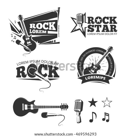 Rock music shop, recording studio, karaoke club vector labels, badges, emblems logos with musical instrument. Guitar and microphone illustration
