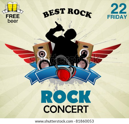 rock music sign - concert poster
