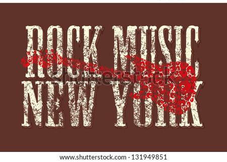rock music skull and guitar