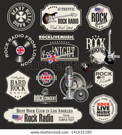 rock music stamps and labels