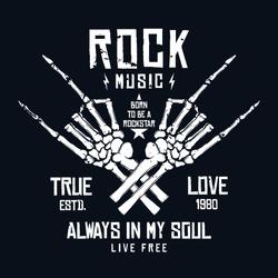 Rock music t-shirt design. Vintage rock festival poster design, slogan for t-shirt print. Hands of skeleton and lettering on dark background. Vector