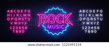 Rock Music Vector Neon. Rock Music Neon Sign, Bright Night Sign, Light Banner, Neon Night Live Music Promotion, Nightlife Vector. Editing text neon sign