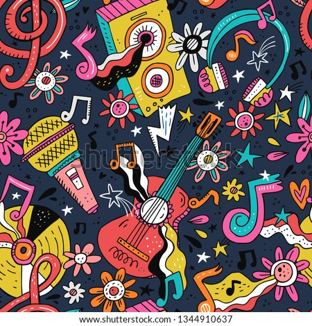 Rock n roll doodle vector seamless pattern. Hippie music cartoon illustrations. Disco party. Retro, vintage backdrop. Musical pop concert, festival, live event background, wallpaper color design