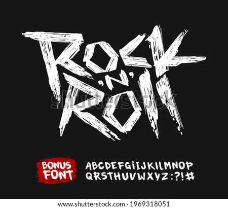 Rock'n'roll grunge doodle style font vector alphabet. Set of Rock n roll grunge style type font for print stump tee and poster design. Rock music grunge style lettering