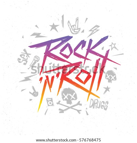 Rock n Roll Grunge lettering slogan for t-shirt design. Rock'n'Roll hipster style  t-shirt  Print label, template for music event design isolated from white. Vector illustration