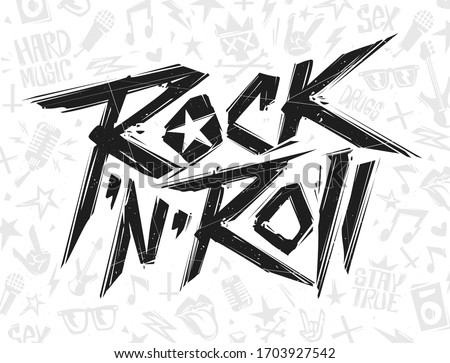 Rock'n'roll grunge style black lettering sign on white background - vector template . Set of Rock n roll  print stump elements for tee and poster design. Rock music grunge style lettering