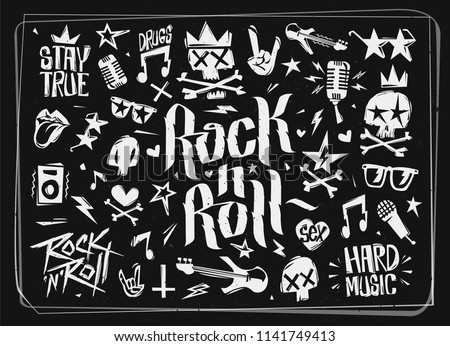 Rock'n'Roll grunge style elements collection. Doodle style Hard Rock icons and symbols isolated from black background. Rock n Rollmusic elements set for tee print stamp, decoration, party poster, card