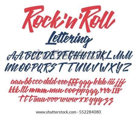 Rock n Roll Handwritten lettering vector font aphabet
