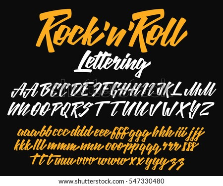 Rock n Roll lettering vector font aphabet