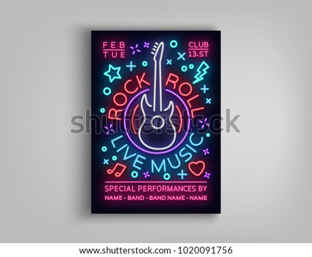 8fa31d88 ... design t shirt, vector artistic illustration graphic style, · Rock n  roll live music. Typography, Poster in neon style, Neon sign, ...