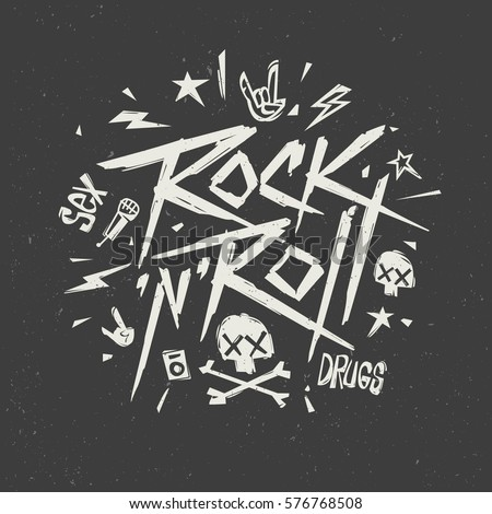 Rock'n'Roll music Creative Lettering Modern style Grunge Poster, Print label isolated from black. Rock n Roll culture Tee print stamp t-shirt lettering vector artwork