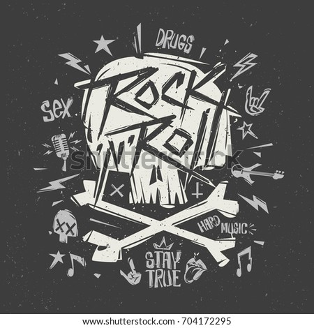 Stock Photo Rock'n'Roll music - hand drawn Lettering Modern style Grunge Poster with skull shape. Print label isolated from black. Rock n Roll party Tee print stamp t-shirt, print fabric. Isolated vector