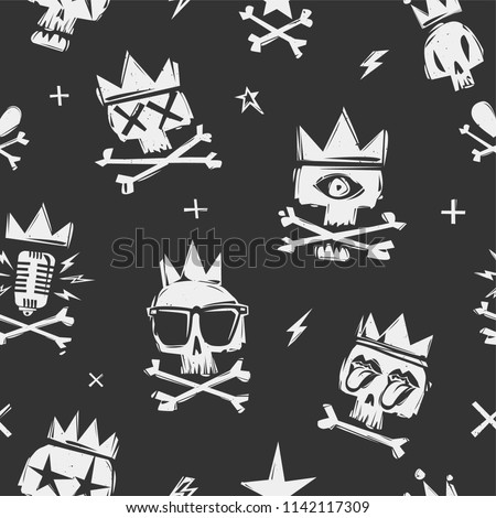 Rock'n'roll seamless pattern with grunge psychedelic skulls in crown on black background. Vector Rock and Roll cartoon doodle style funny skulls illustration. Rock star elements endless backdrop