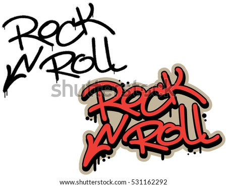 rock n roll  spray graffiti tag