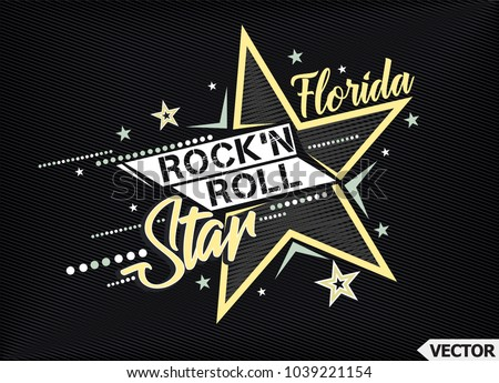 Rock'n Roll Star. T-shirt slogan print poster vector illustration