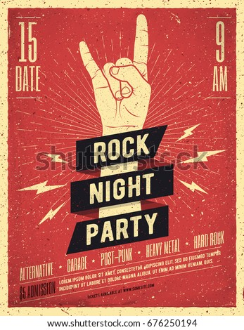 rock night party poster flyer