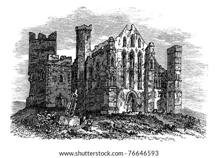 Rock of Cashel or Cashel of the Kings or St. Patrick's Rock, Located at the town of Cashel, in South Tipperary county, Ireland vintage engraving. Old engraved illustration of Rock of Cashel. Trousset.